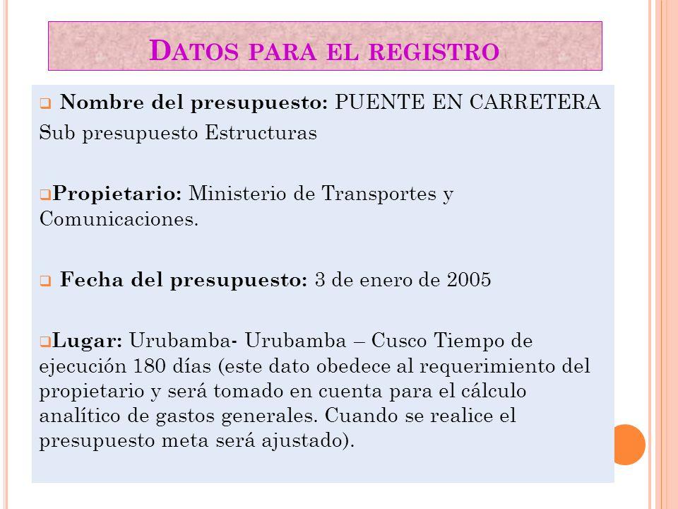 Datos para el registro Nombre del presupuesto: PUENTE EN CARRETERA