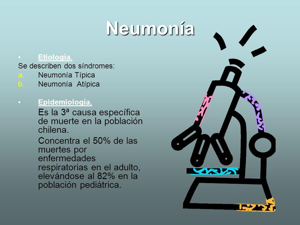 Neumonía Etiología. Se describen dos síndromes: Neumonía Típica. Neumonía Atípica. Epidemiología.