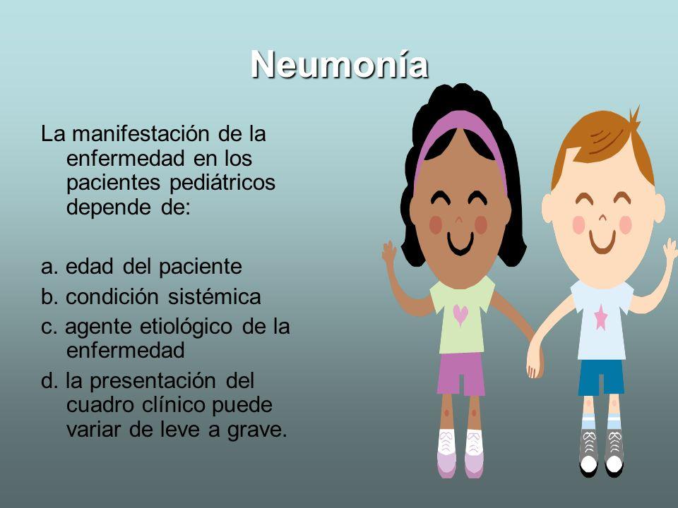 NeumoníaLa manifestación de la enfermedad en los pacientes pediátricos depende de: a. edad del paciente.