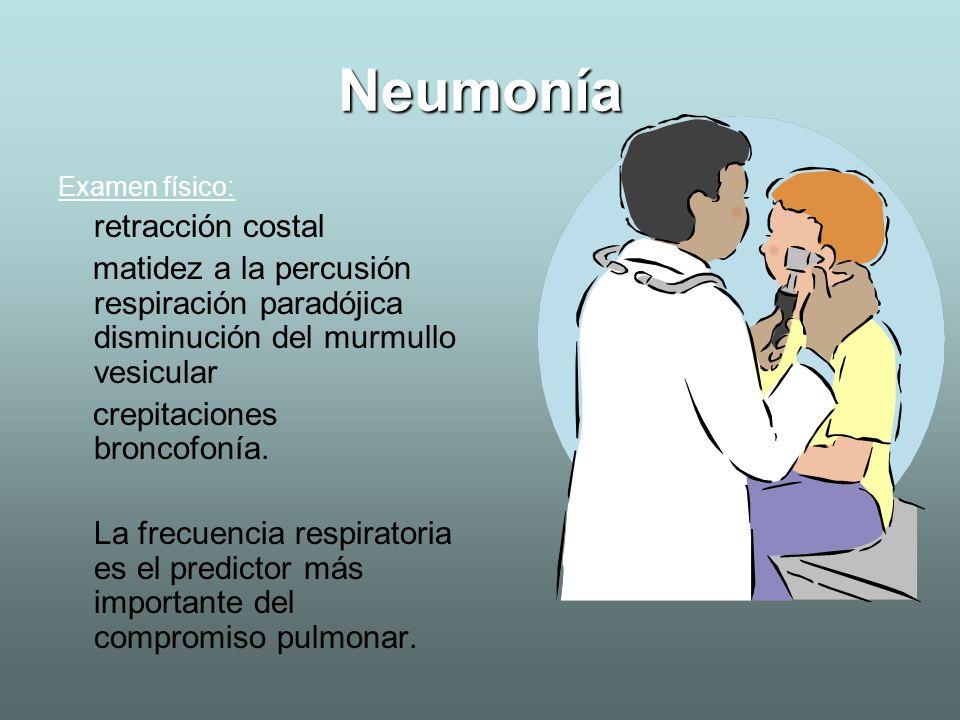 Neumonía Examen físico: retracción costal. matidez a la percusión respiración paradójica disminución del murmullo vesicular.