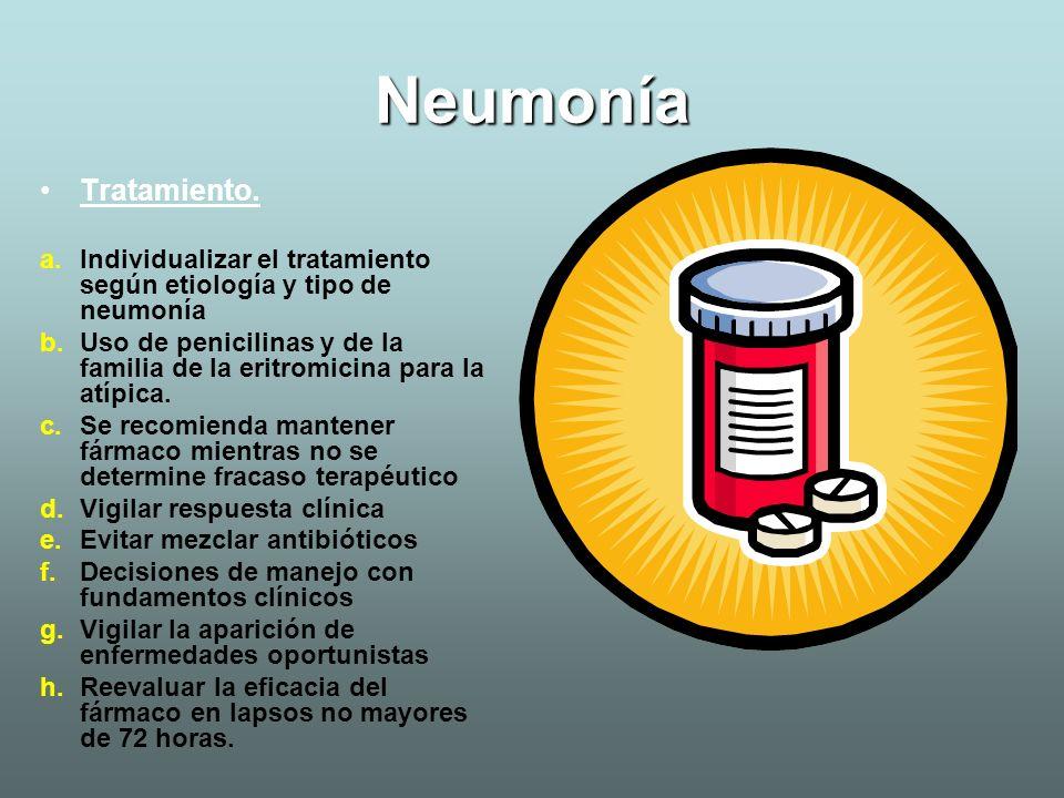 Neumonía Tratamiento. Individualizar el tratamiento según etiología y tipo de neumonía.