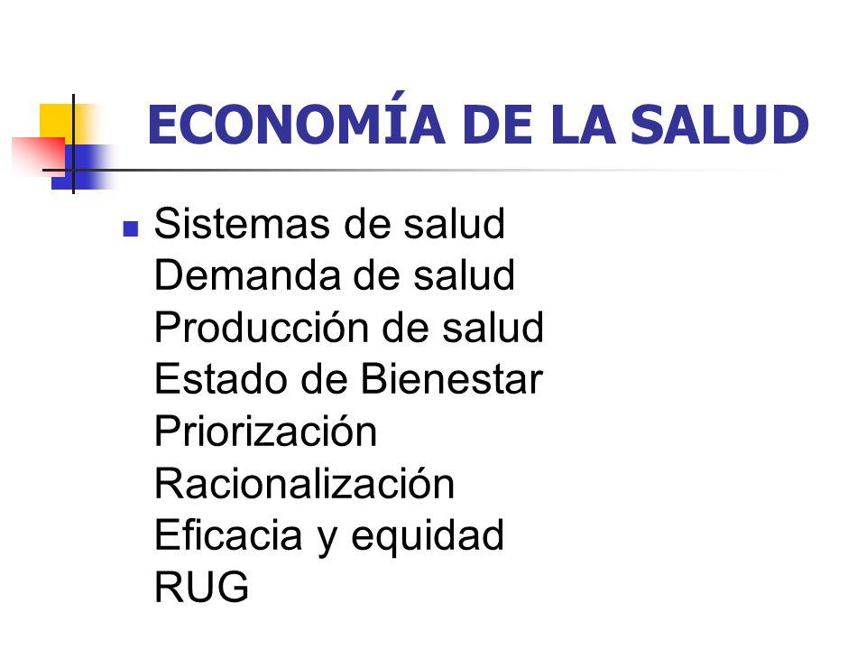 ECONOMÍA DE LA SALUD Sistemas de salud Demanda de salud Producción de salud Estado de Bienestar Priorización Racionalización Eficacia y equidad RUG.