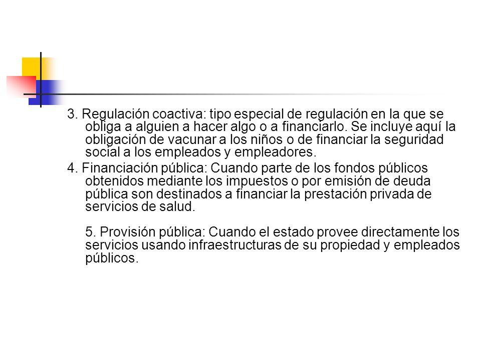 3. Regulación coactiva: tipo especial de regulación en la que se obliga a alguien a hacer algo o a financiarlo. Se incluye aquí la obligación de vacunar a los niños o de financiar la seguridad social a los empleados y empleadores.