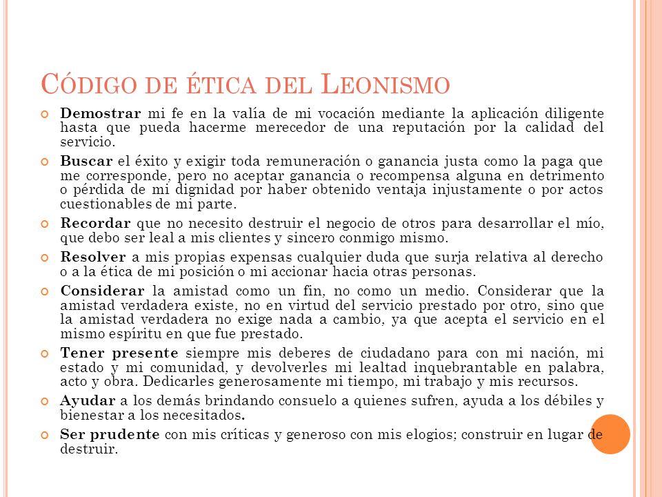 Código de ética del Leonismo