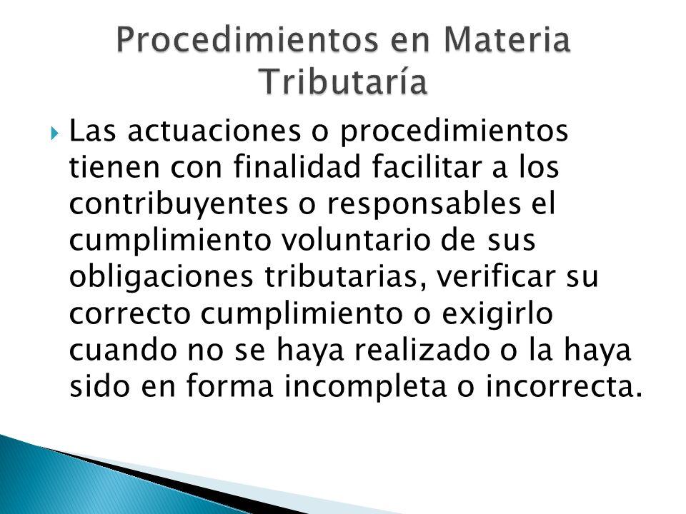 Procedimientos en Materia Tributaría