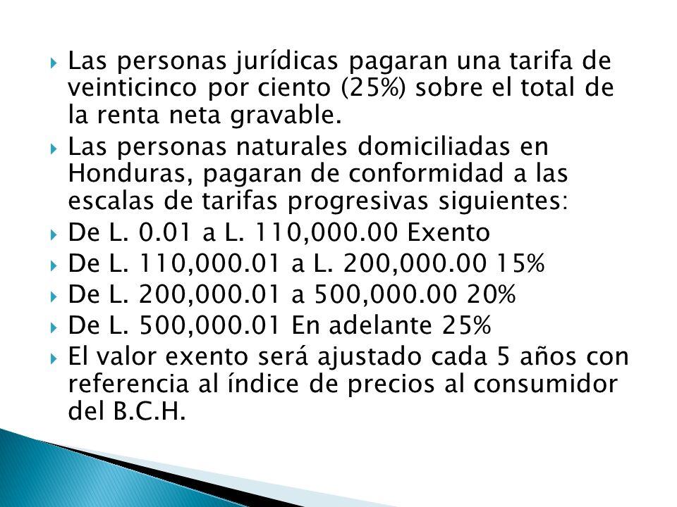 Las personas jurídicas pagaran una tarifa de veinticinco por ciento (25%) sobre el total de la renta neta gravable.