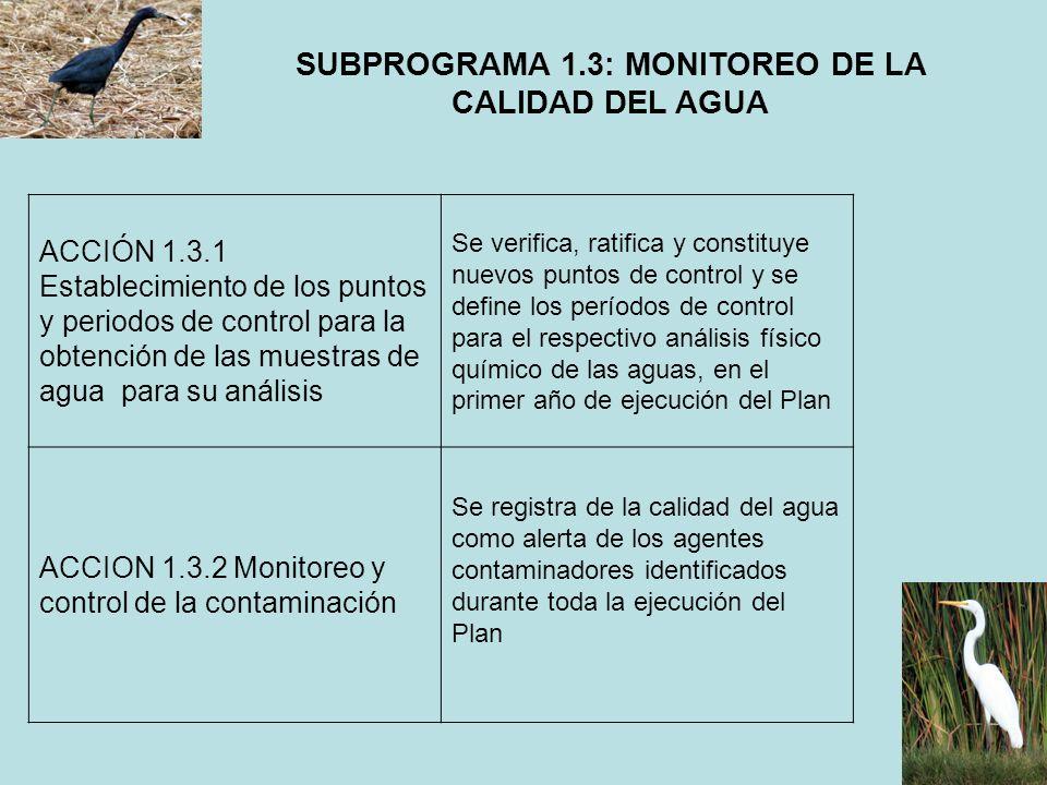 SUBPROGRAMA 1.3: MONITOREO DE LA CALIDAD DEL AGUA