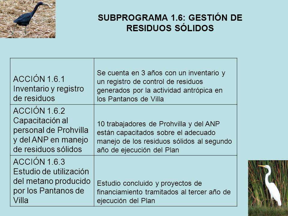 SUBPROGRAMA 1.6: GESTIÓN DE RESIDUOS SÓLIDOS