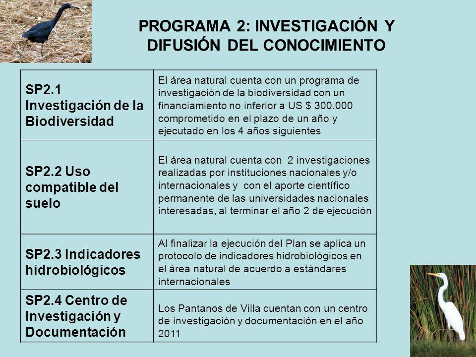 PROGRAMA 2: INVESTIGACIÓN Y DIFUSIÓN DEL CONOCIMIENTO