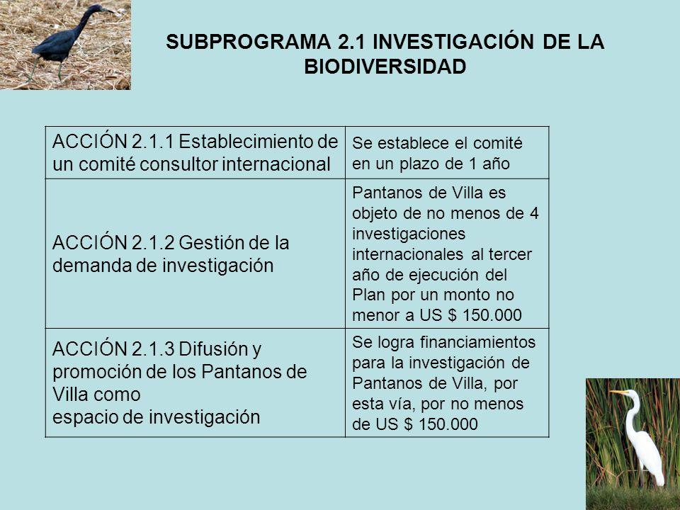 SUBPROGRAMA 2.1 INVESTIGACIÓN DE LA BIODIVERSIDAD