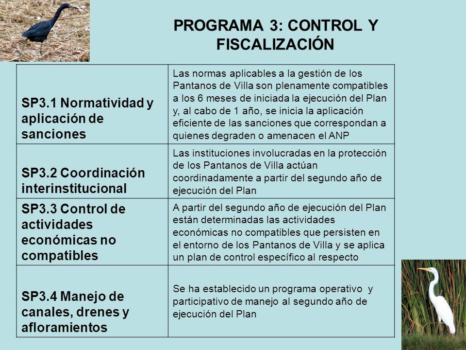 PROGRAMA 3: CONTROL Y FISCALIZACIÓN