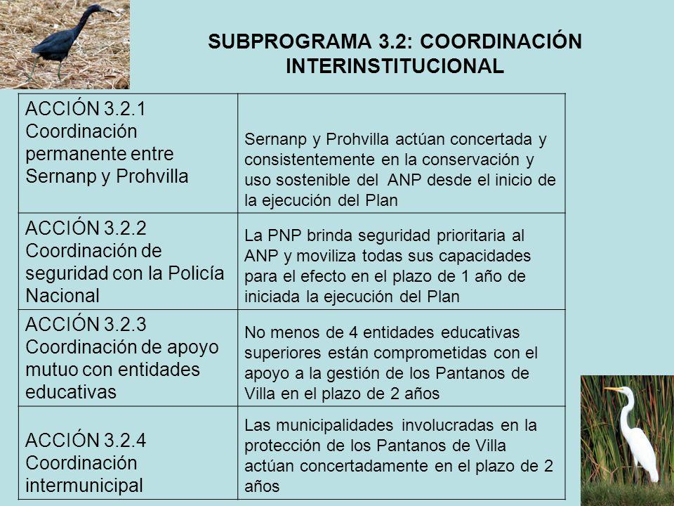 SUBPROGRAMA 3.2: COORDINACIÓN INTERINSTITUCIONAL