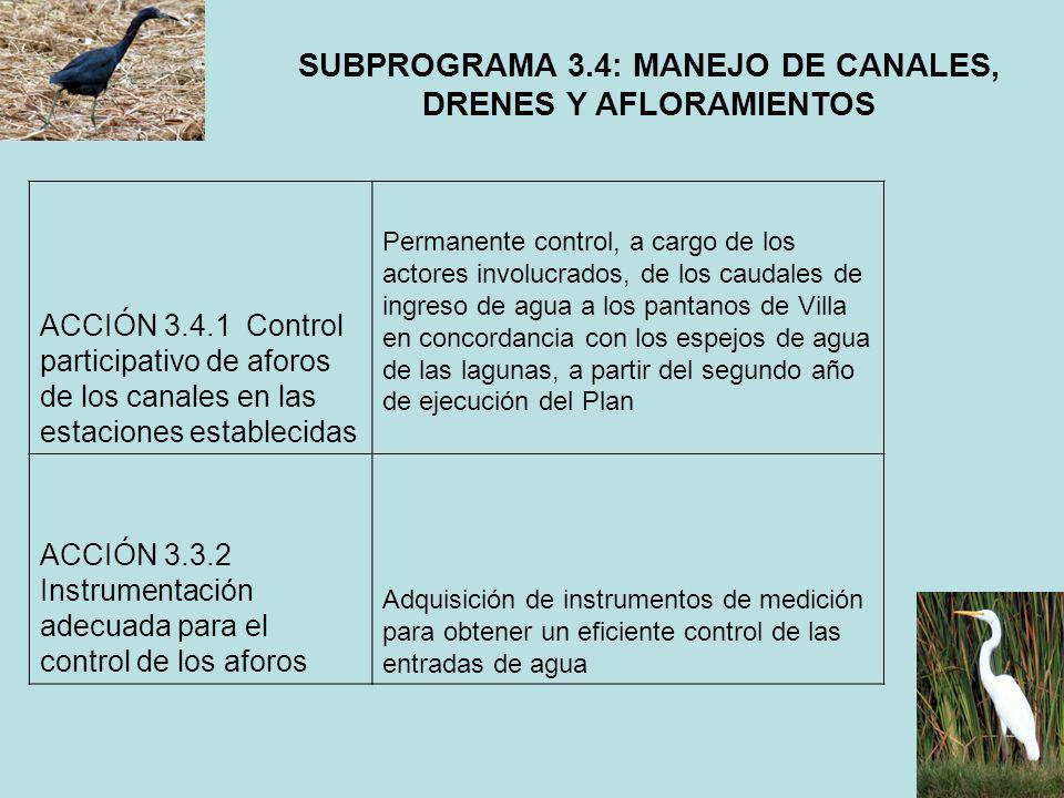 SUBPROGRAMA 3.4: MANEJO DE CANALES, DRENES Y AFLORAMIENTOS