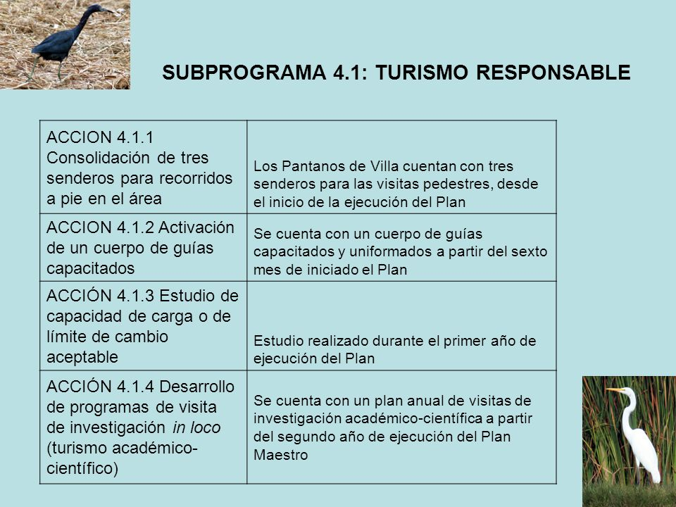 SUBPROGRAMA 4.1: TURISMO RESPONSABLE