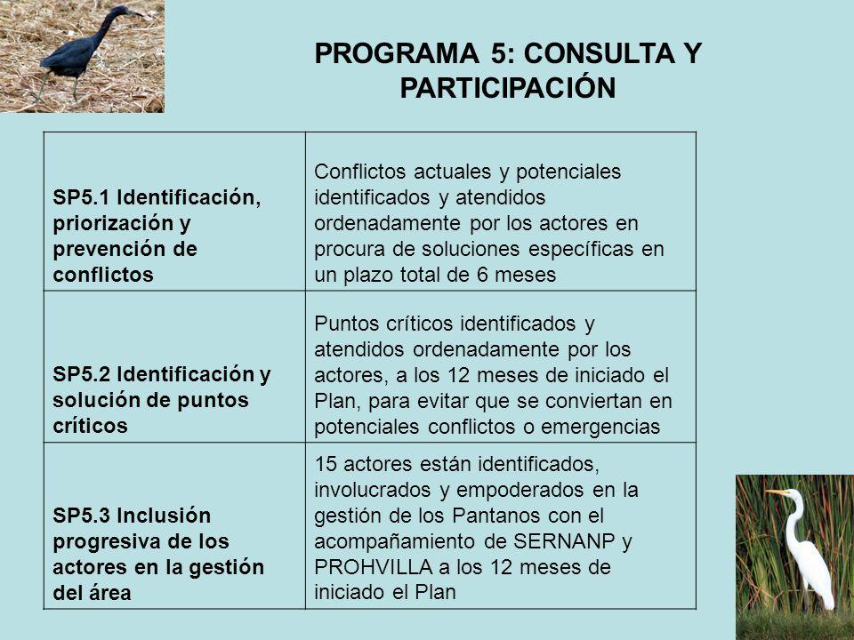 PROGRAMA 5: CONSULTA Y PARTICIPACIÓN