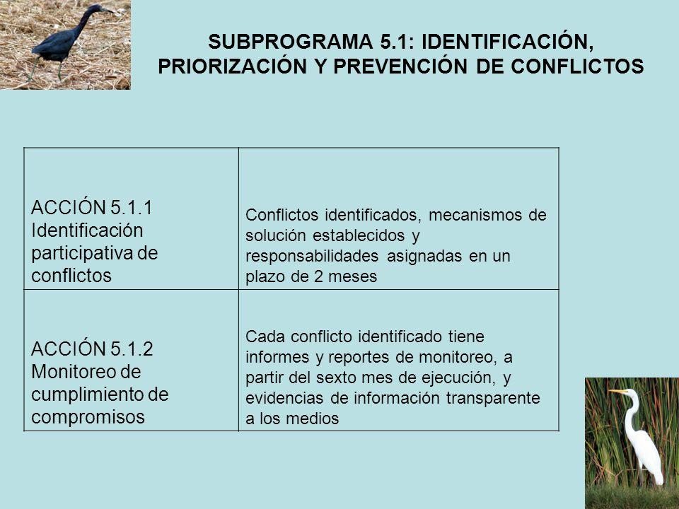 SUBPROGRAMA 5.1: IDENTIFICACIÓN, PRIORIZACIÓN Y PREVENCIÓN DE CONFLICTOS