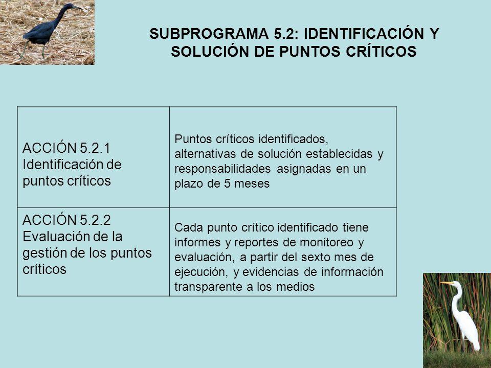 SUBPROGRAMA 5.2: IDENTIFICACIÓN Y SOLUCIÓN DE PUNTOS CRÍTICOS