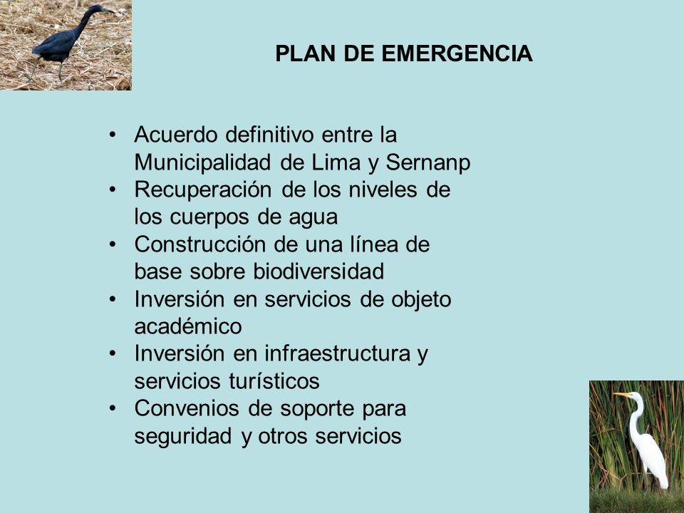 PLAN DE EMERGENCIA Acuerdo definitivo entre la Municipalidad de Lima y Sernanp. Recuperación de los niveles de los cuerpos de agua.