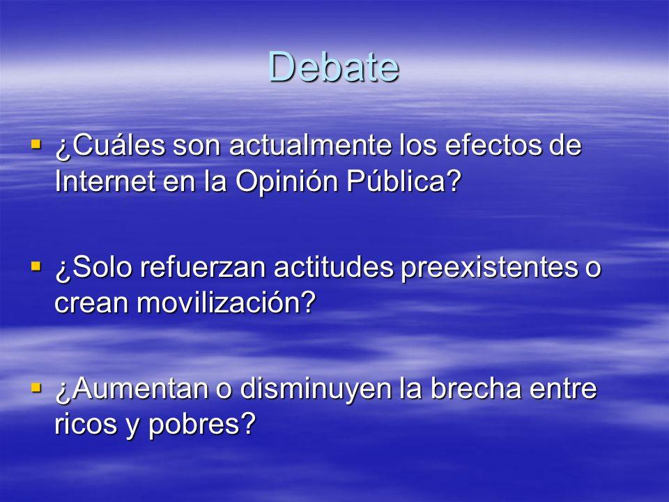 Debate ¿Cuáles son actualmente los efectos de Internet en la Opinión Pública ¿Solo refuerzan actitudes preexistentes o crean movilización