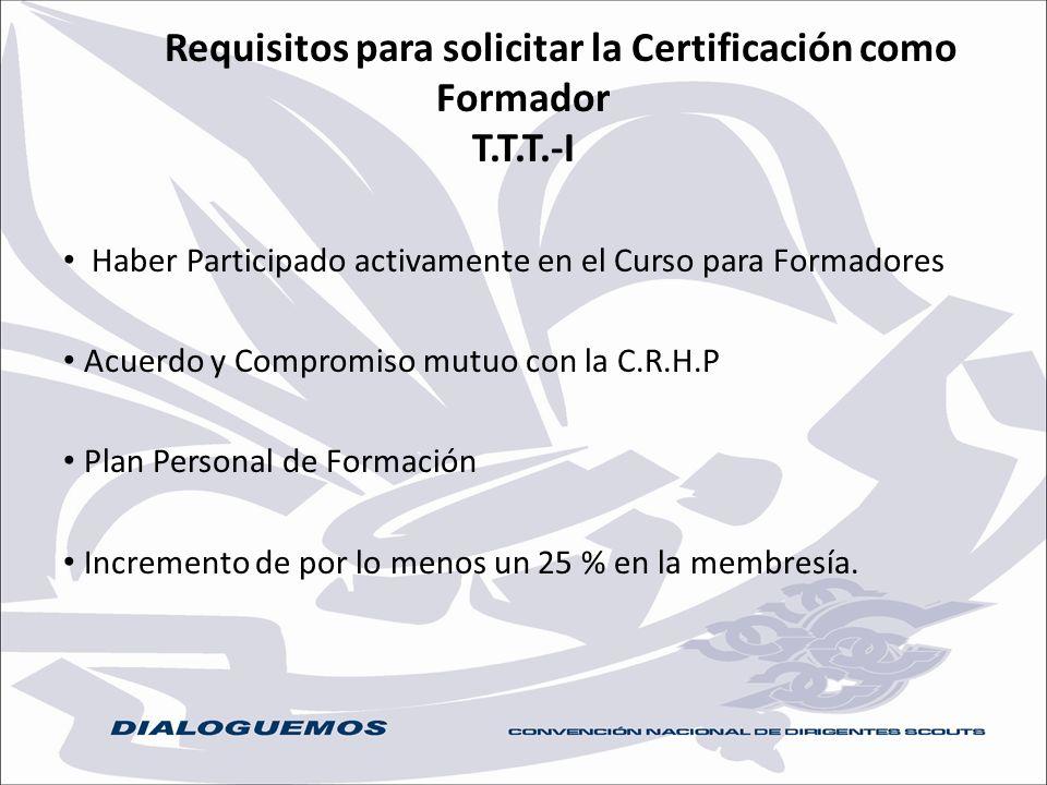 Requisitos para solicitar la Certificación como Formador T.T.T.-I