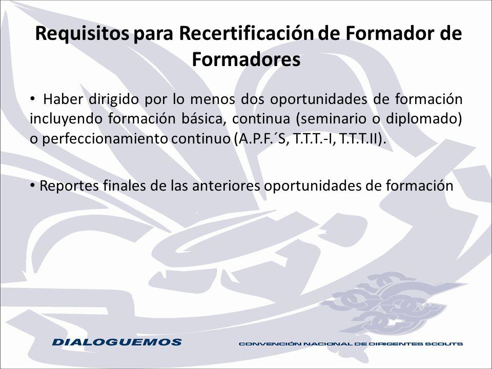 Requisitos para Recertificación de Formador de Formadores