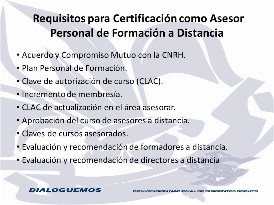 Requisitos para Certificación como Asesor Personal de Formación a Distancia