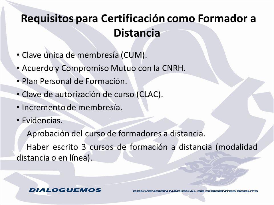 Requisitos para Certificación como Formador a Distancia