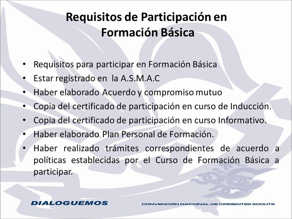 Requisitos de Participación en Formación Básica