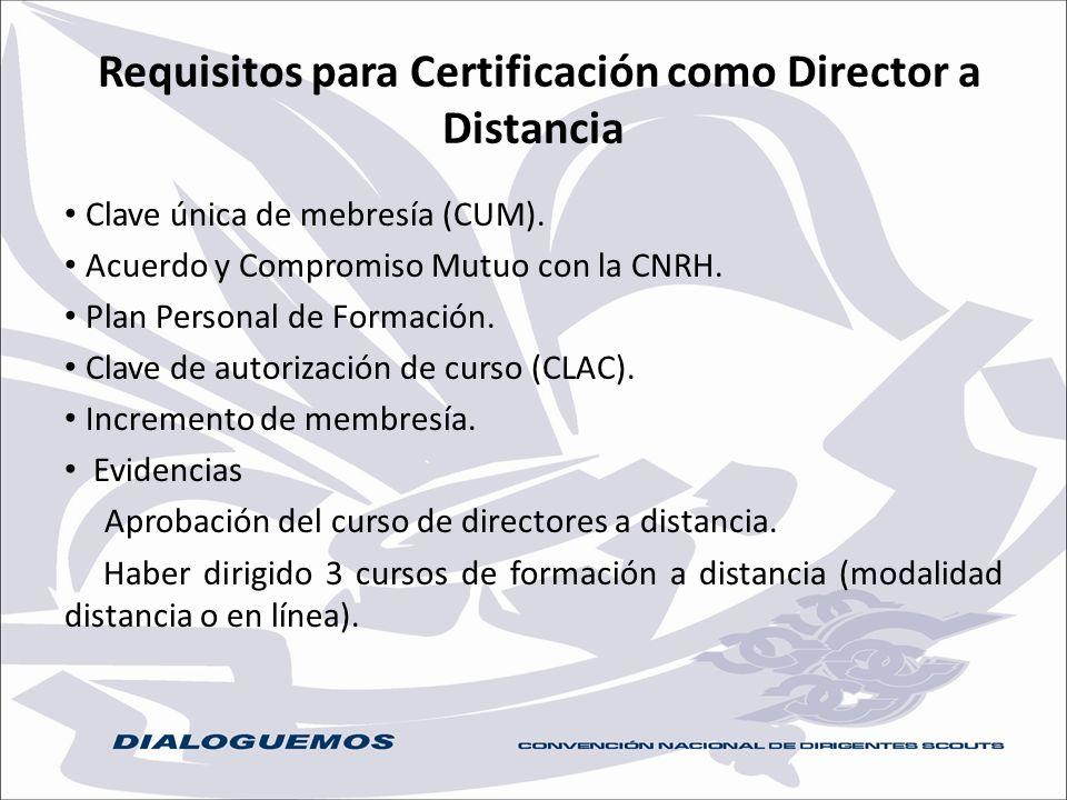 Requisitos para Certificación como Director a Distancia