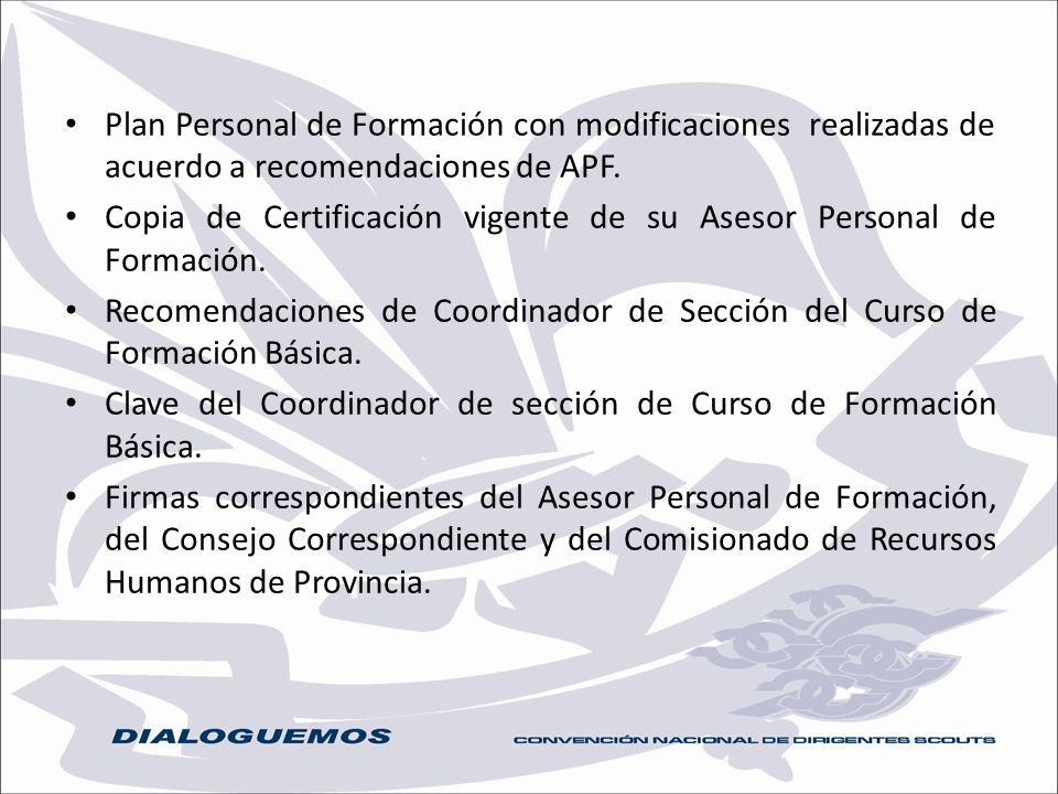 Plan Personal de Formación con modificaciones realizadas de acuerdo a recomendaciones de APF.