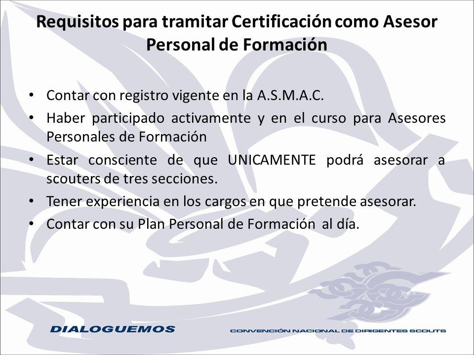Requisitos para tramitar Certificación como Asesor Personal de Formación