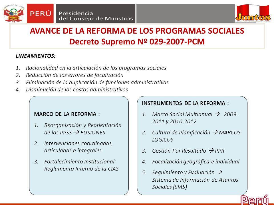 Perú AVANCE DE LA REFORMA DE LOS PROGRAMAS SOCIALES