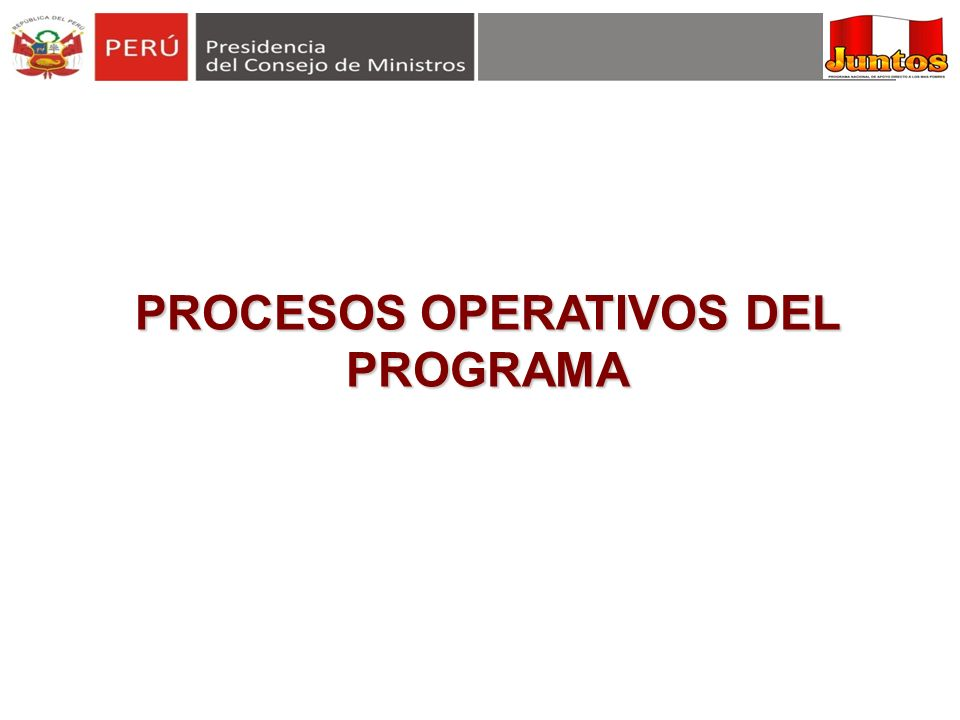 PROCESOS OPERATIVOS DEL PROGRAMA