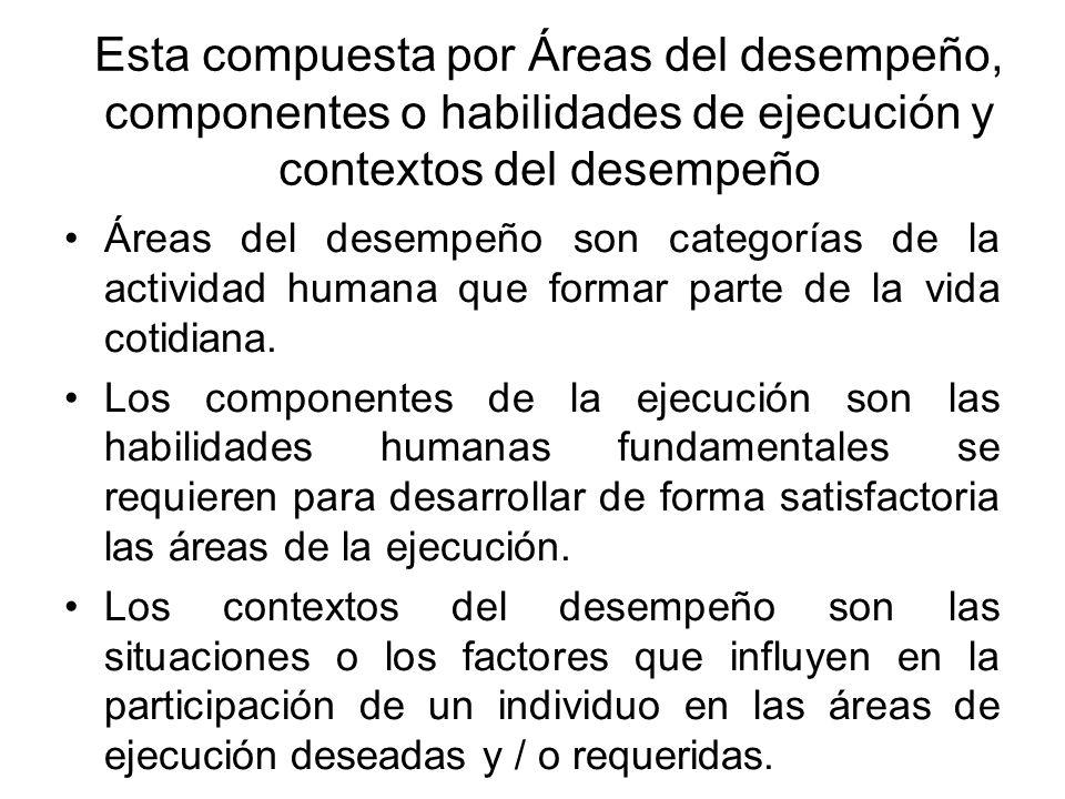 Esta compuesta por Áreas del desempeño, componentes o habilidades de ejecución y contextos del desempeño
