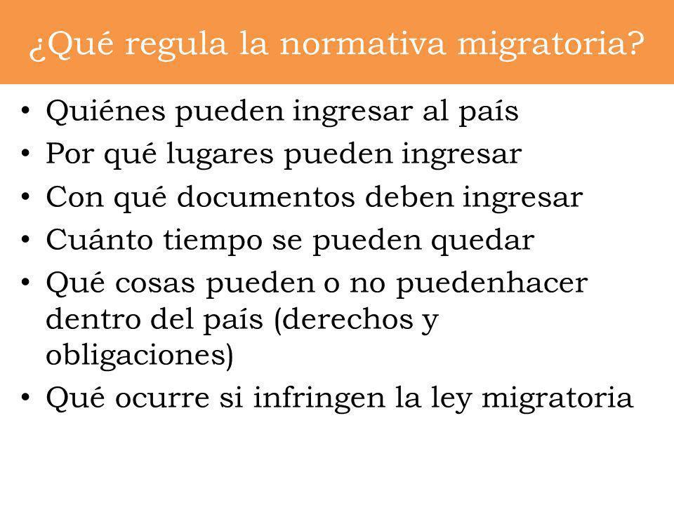 ¿Qué regula la normativa migratoria