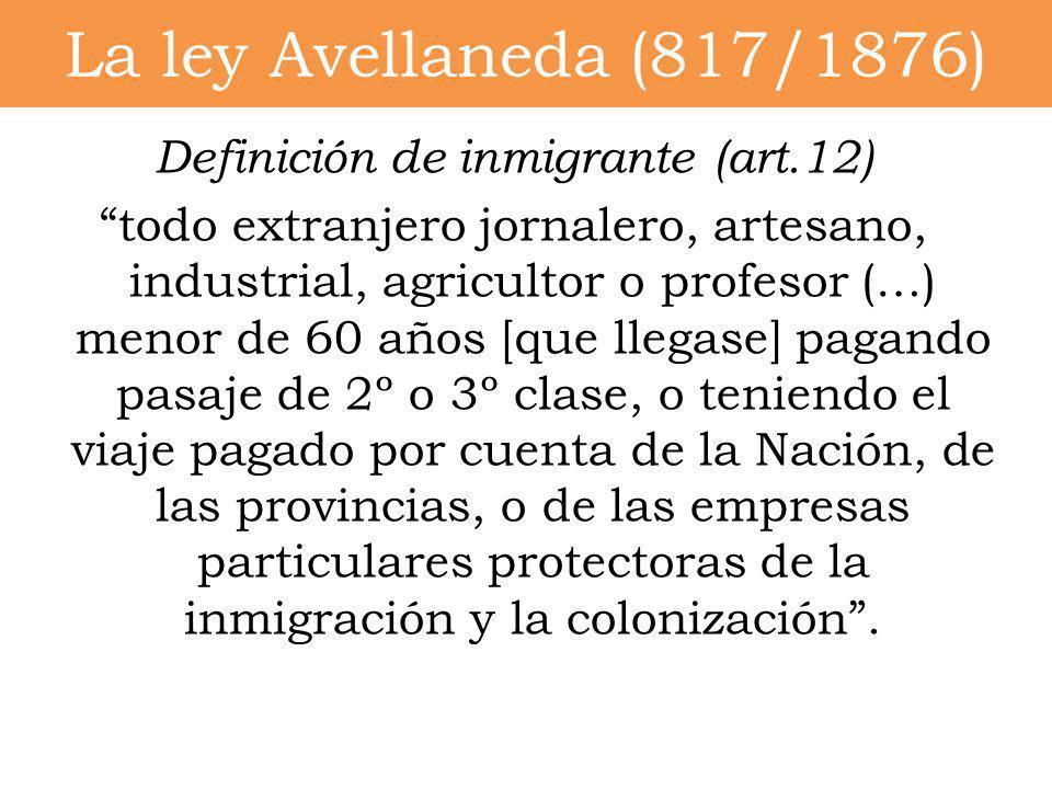 La ley Avellaneda (817/1876)