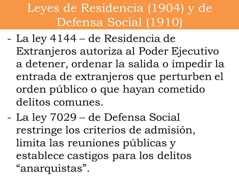 Leyes de Residencia (1904) y de Defensa Social (1910)