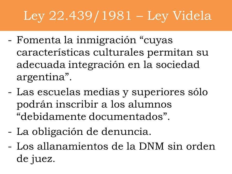 Ley 22.439/1981 – Ley VidelaFomenta la inmigración cuyas características culturales permitan su adecuada integración en la sociedad argentina .