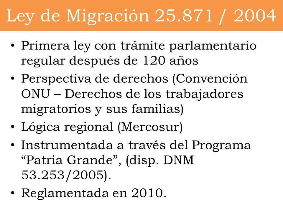 Ley de Migración 25.871 / 2004Primera ley con trámite parlamentario regular después de 120 años.