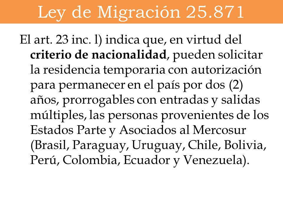 Ley de Migración 25.871