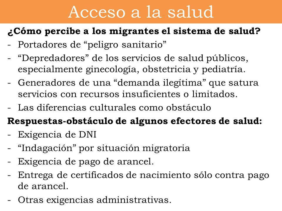 Acceso a la salud ¿Cómo percibe a los migrantes el sistema de salud