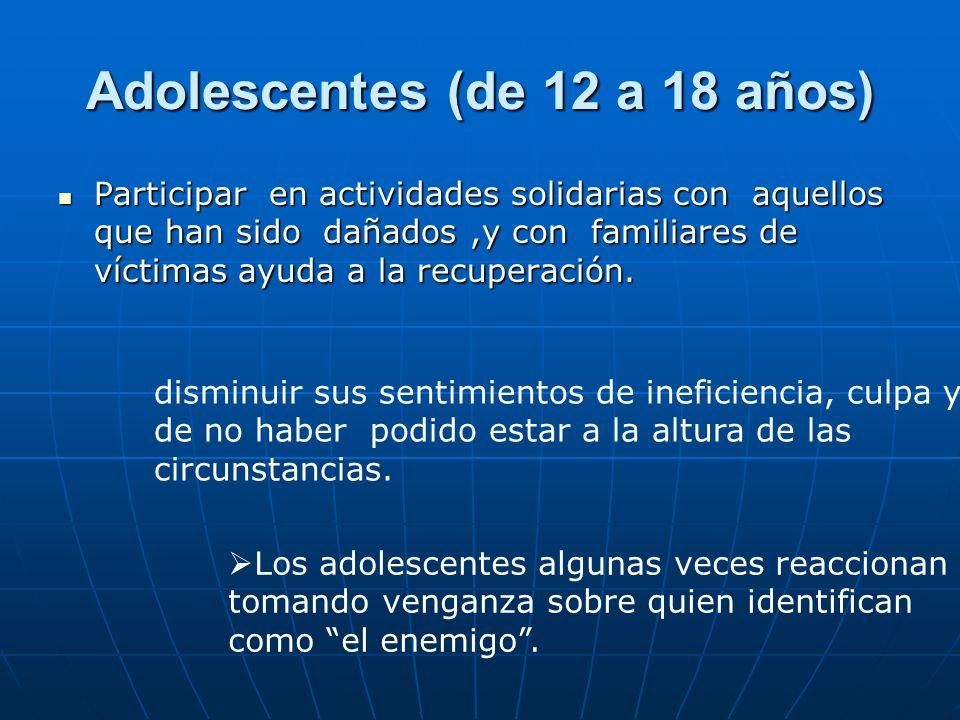 Adolescentes (de 12 a 18 años)