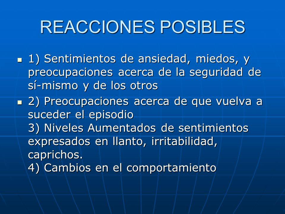 REACCIONES POSIBLES 1) Sentimientos de ansiedad, miedos, y preocupaciones acerca de la seguridad de sí-mismo y de los otros.