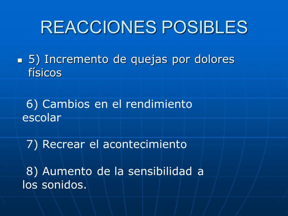 REACCIONES POSIBLES 5) Incremento de quejas por dolores físicos