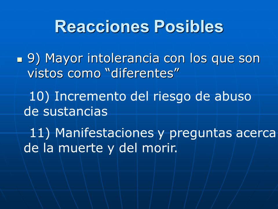 Reacciones Posibles 9) Mayor intolerancia con los que son vistos como diferentes 10) Incremento del riesgo de abuso de sustancias.