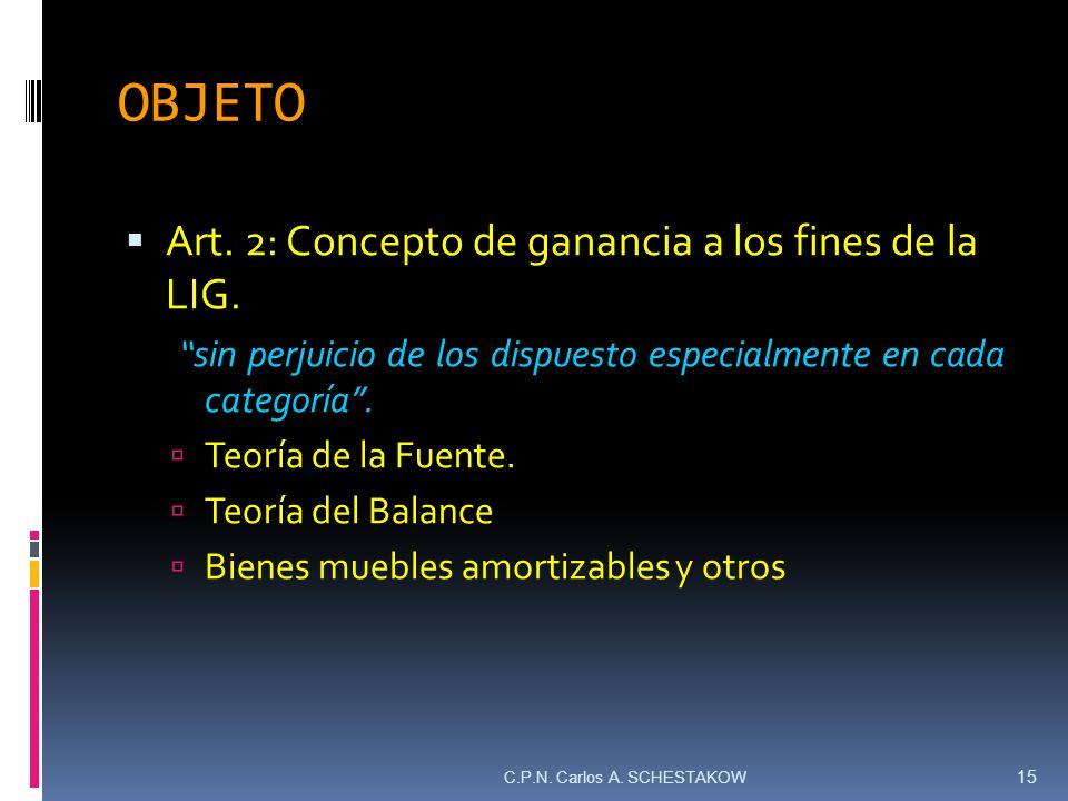 OBJETO Art. 2: Concepto de ganancia a los fines de la LIG.