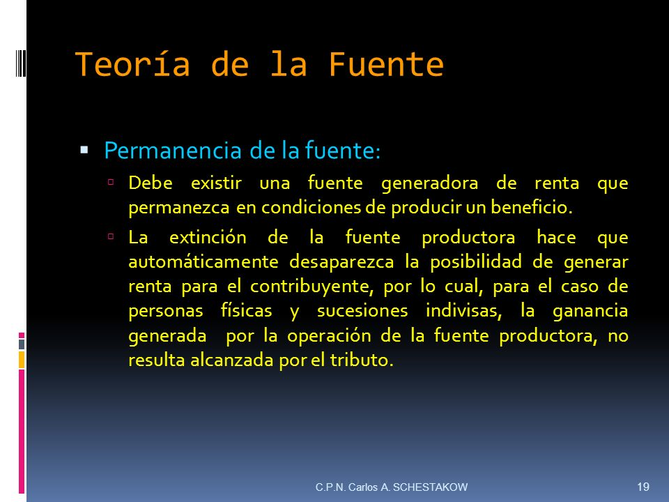 Teoría de la Fuente Permanencia de la fuente: