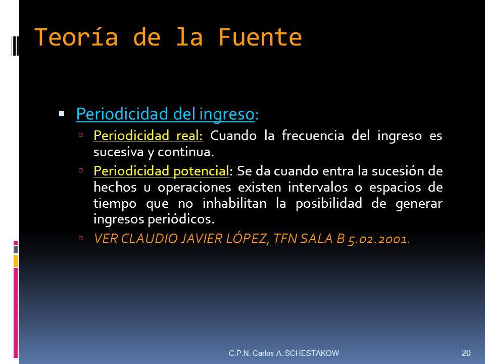 Teoría de la Fuente Periodicidad del ingreso: