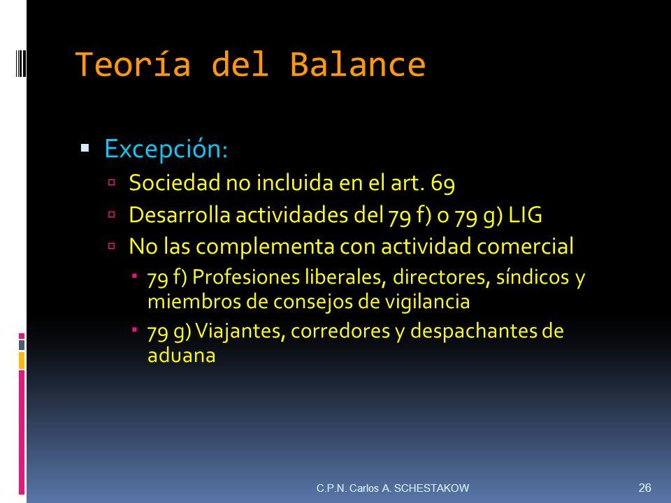 Teoría del Balance Excepción: Sociedad no incluida en el art. 69
