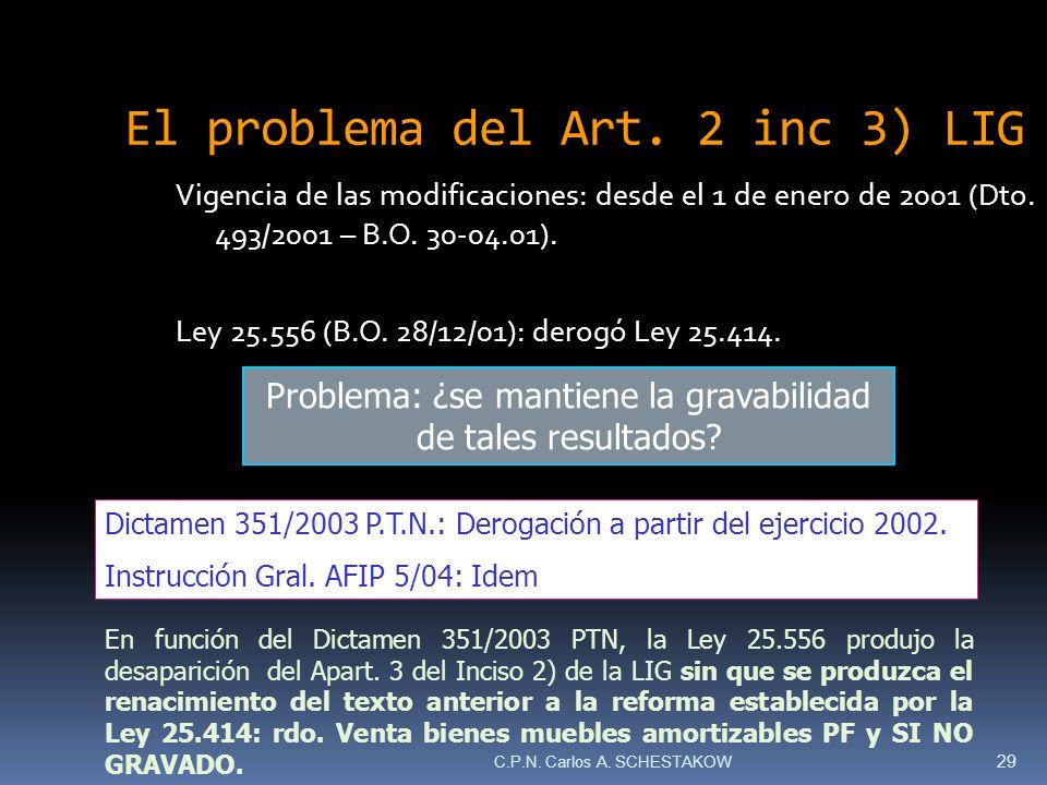 El problema del Art. 2 inc 3) LIG